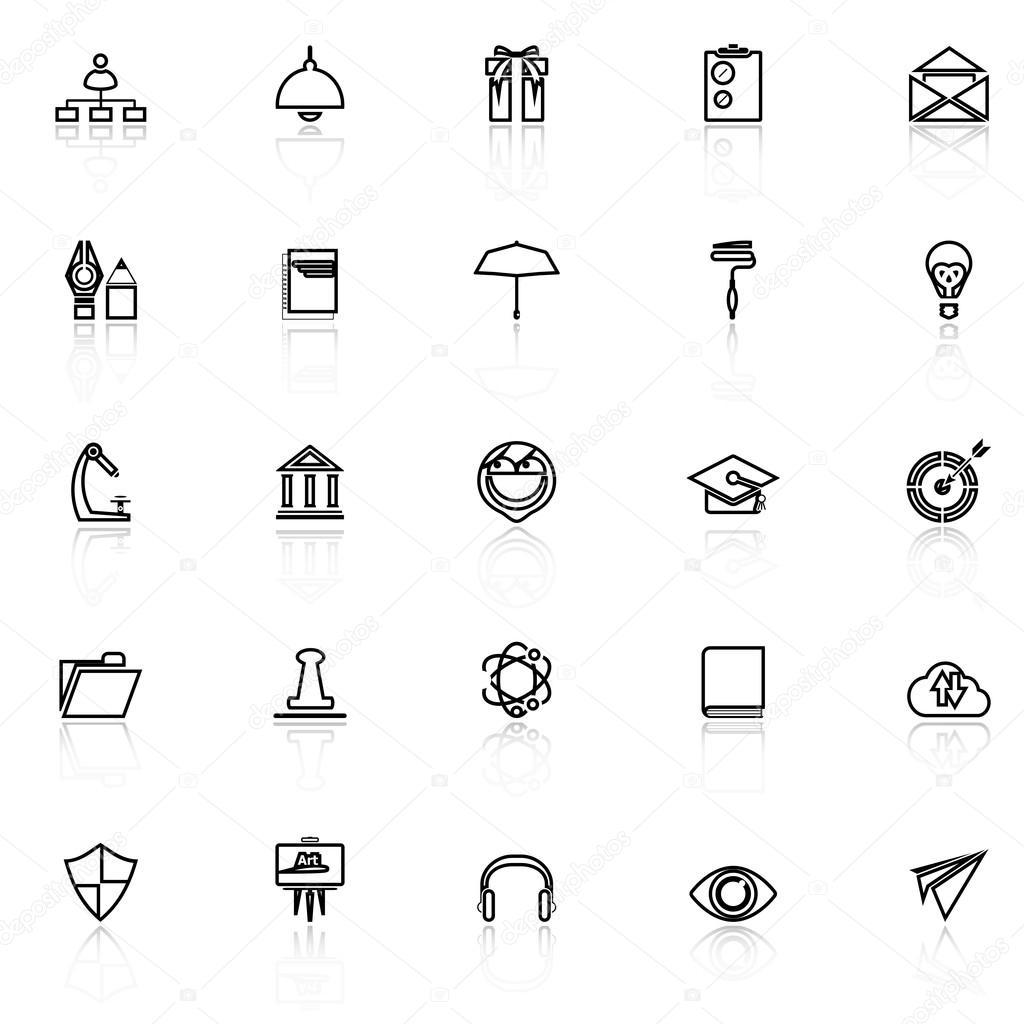 Trabajo reanudar línea iconos con reflexión sobre blanco — Archivo ...