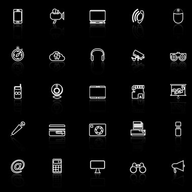Gadget line icons with reflect on black