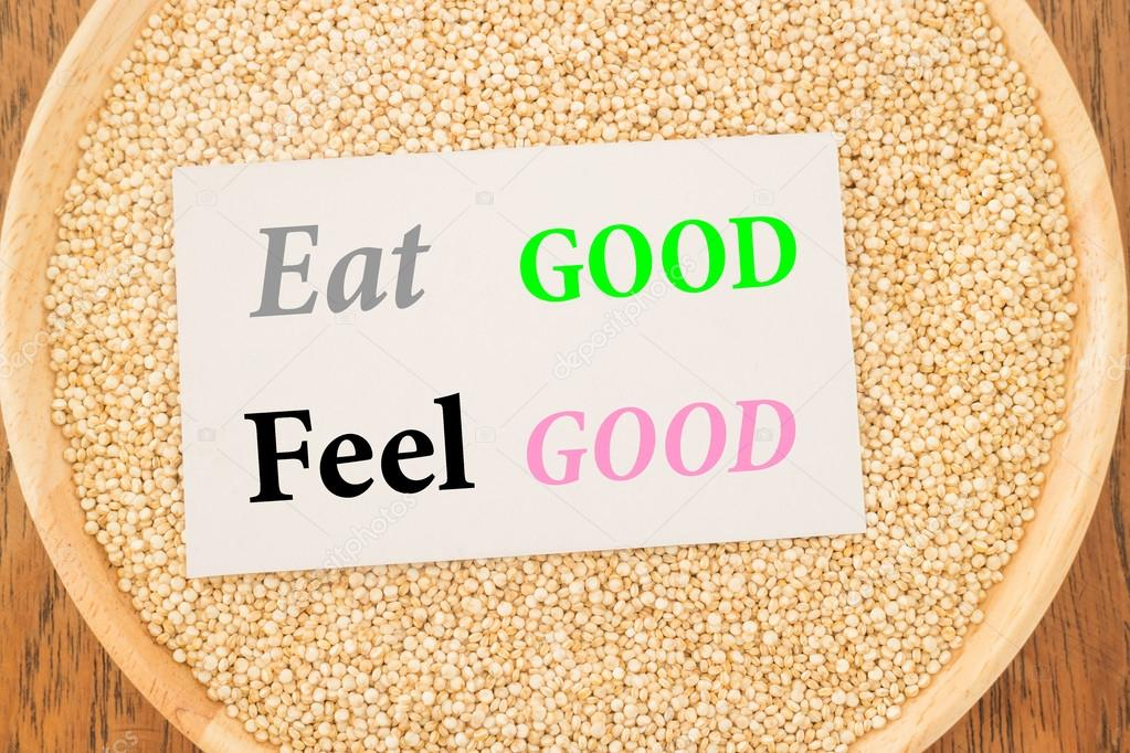 Eat good feel good quote on quinoa and business card — Stock Photo ...