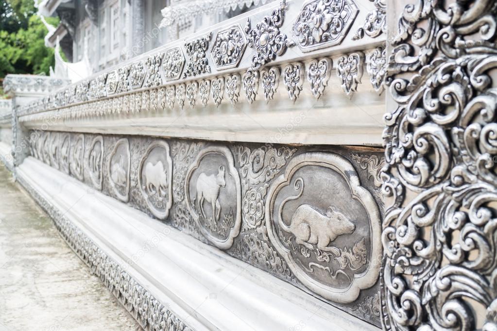 marco grabado lacado plata de thai lanna Zodiaco en templo ch — Foto ...