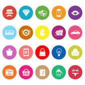 magazzino categoria elemento piatto icone su sfondo bianco