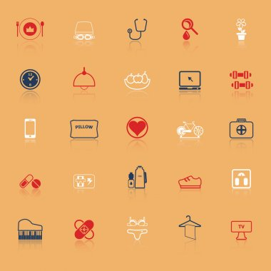 Quality life line icons with reflect