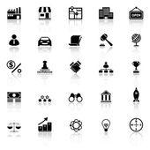 Franchise-Ikonen mit Spiegeln auf weißem Hintergrund