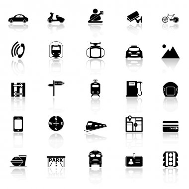 Land transport related with reflect icons on white background