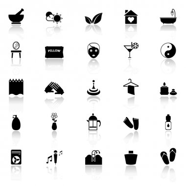 Massage icons with reflect on white background