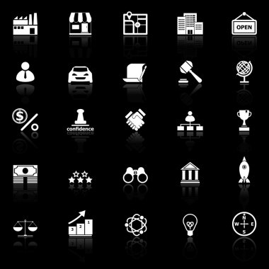Franchise icons with reflect on black background, stock vector stock vector
