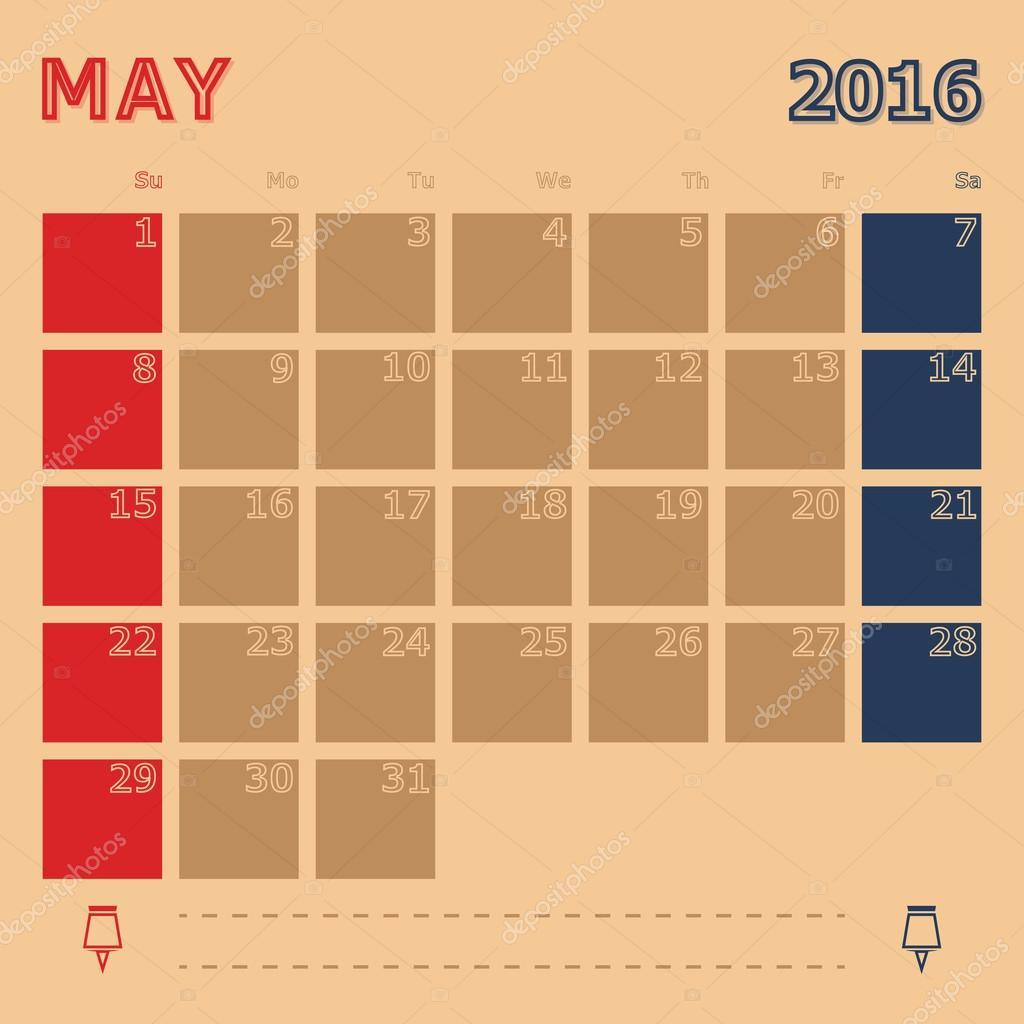 Monatlichen Kalendervorlage Mai 2016 — Stockvektor © nalinrat #89455028