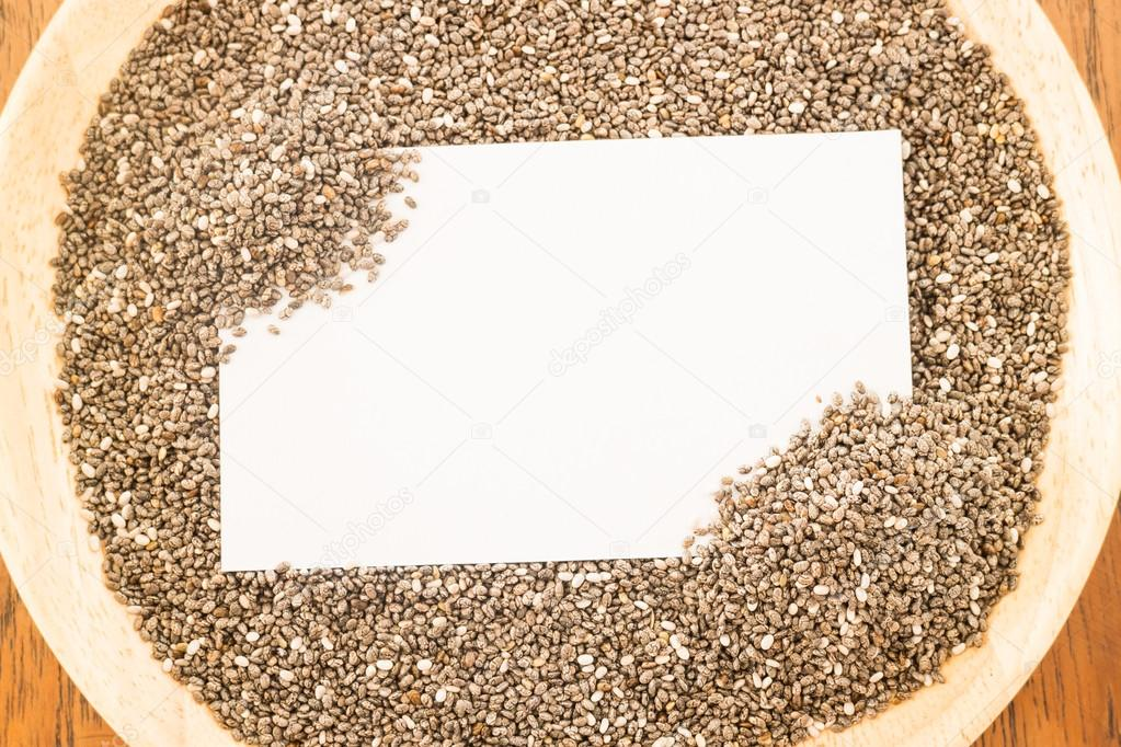 Nutritious chia seeds and business card — Stock Photo © nalinrat ...