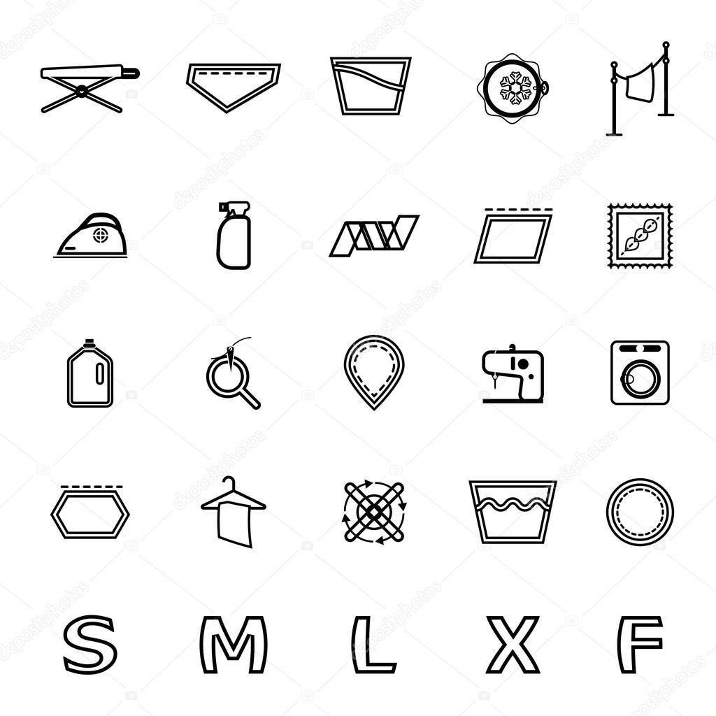 Tuch Pflege Zeichen und Symbol Zeile Symbole auf weiß — Stockvektor ...