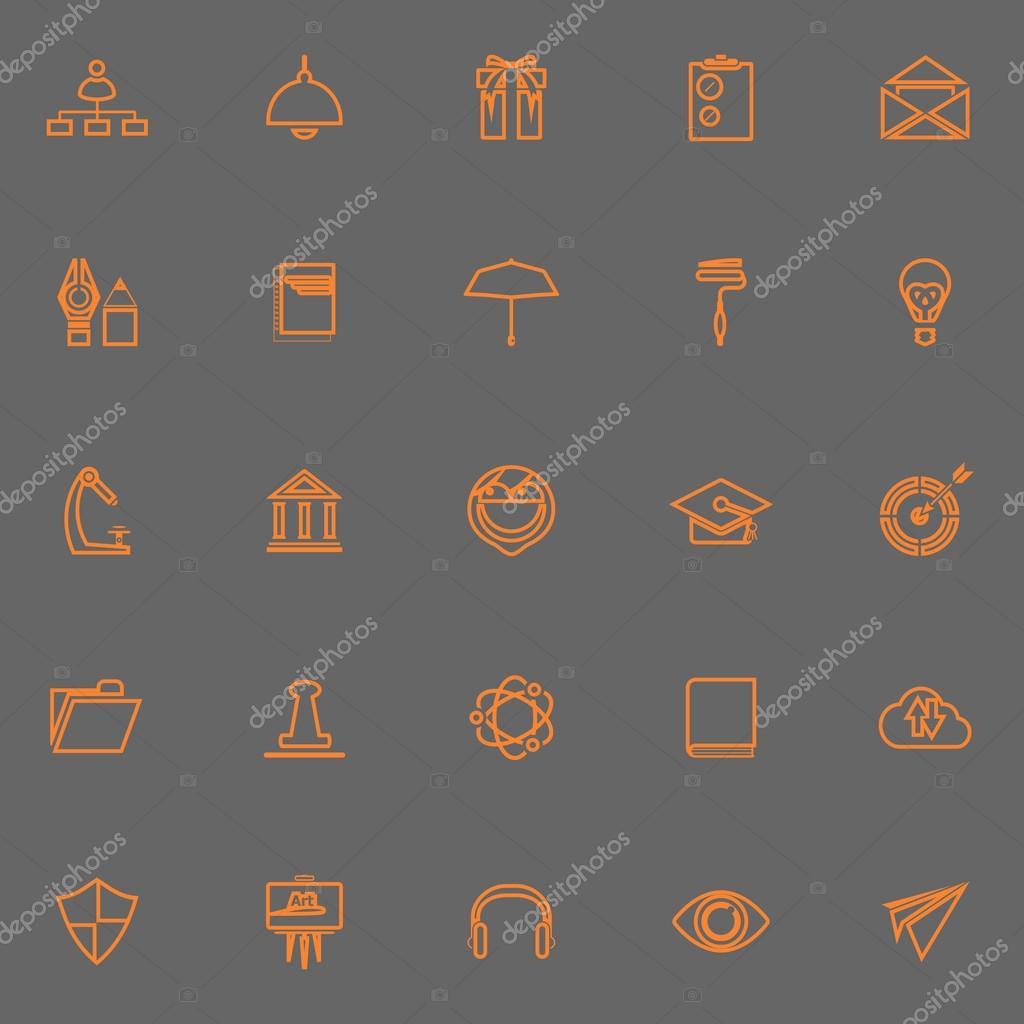 Trabajo reanudar la línea color naranja de los iconos — Vector de ...