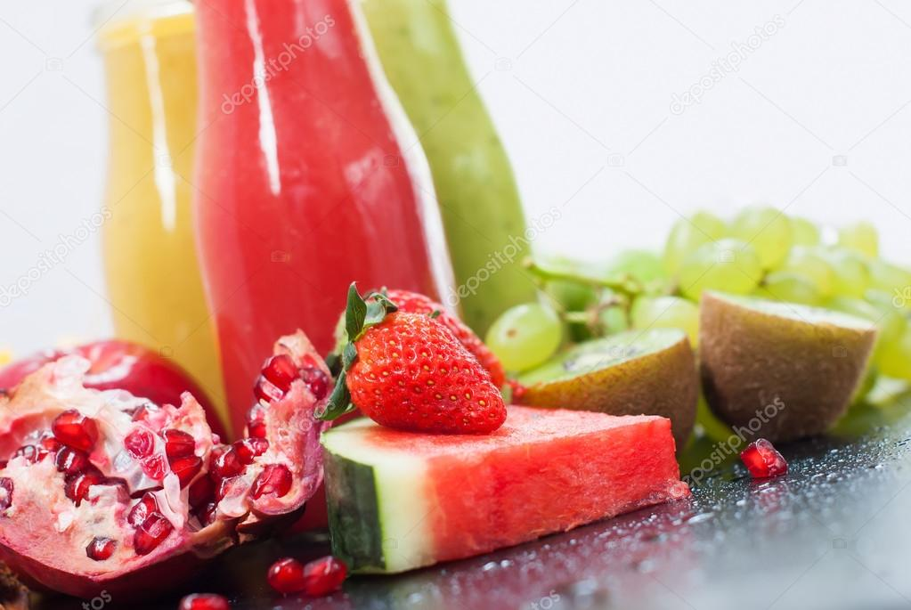 Tropical Fresh Cut Fruits Juices Smoothie Bottles