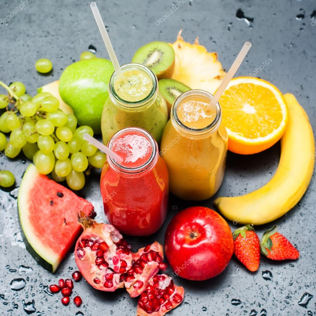 Juices Smoothie Red Green Orange Fruits Healthy