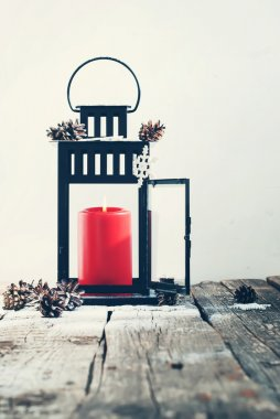 Christmas  Black Lantern with Red Candle