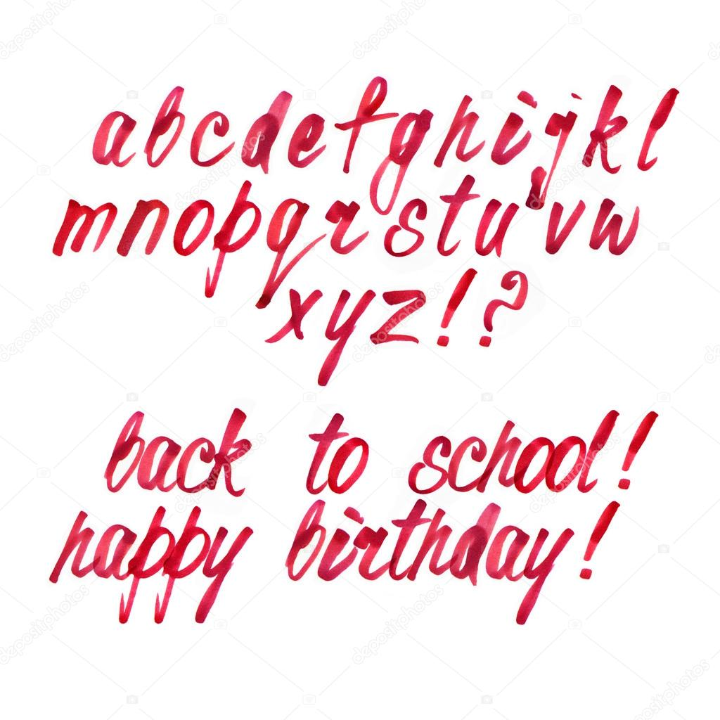 Calligraphy Alphabet With Small Letters Cursive Text Stock Photo