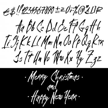 Graphic Calligraphy Alphabet Set. Cursive Letters and Digits