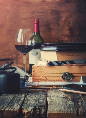 Memories in Different Men Accessories on Warm Wooden Table
