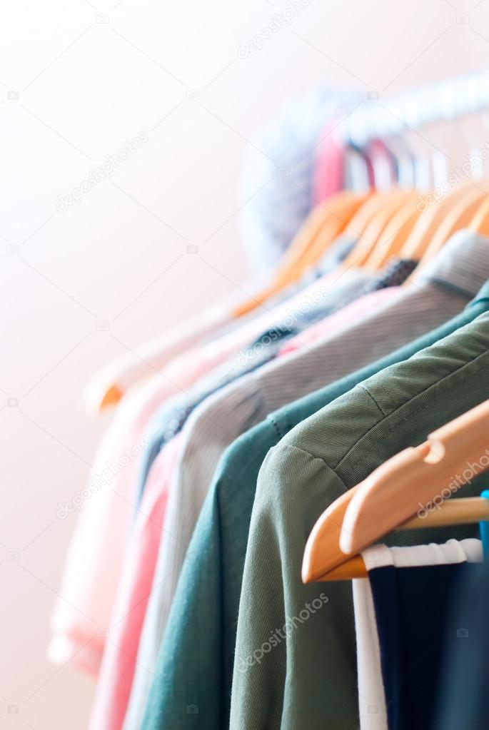 Close up of Woman Clothes on Open Hanger