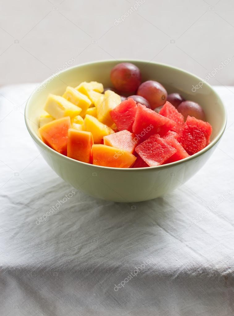 Tropical Fruits and Berries: water-melon, pineapple, papaya, grapes