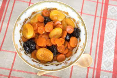 Tzimmes, tsimmes, stewed sweet carrots with dried fruit