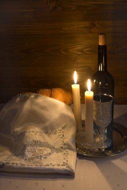 Shabbat Shalom - wine, challah and candles