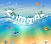 Design of Summer, letters underwater with palm trees, wildlife