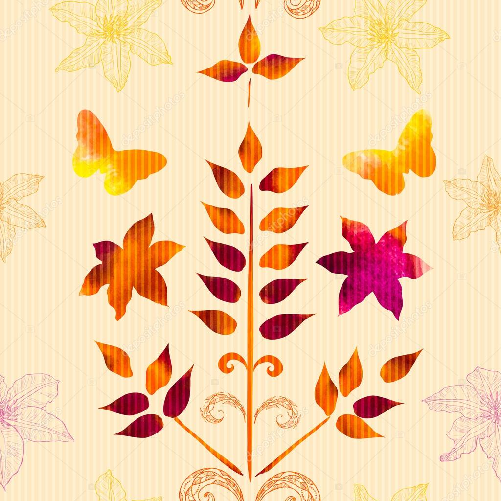 pattern with watercolor painted leaves, flowers and design eleme