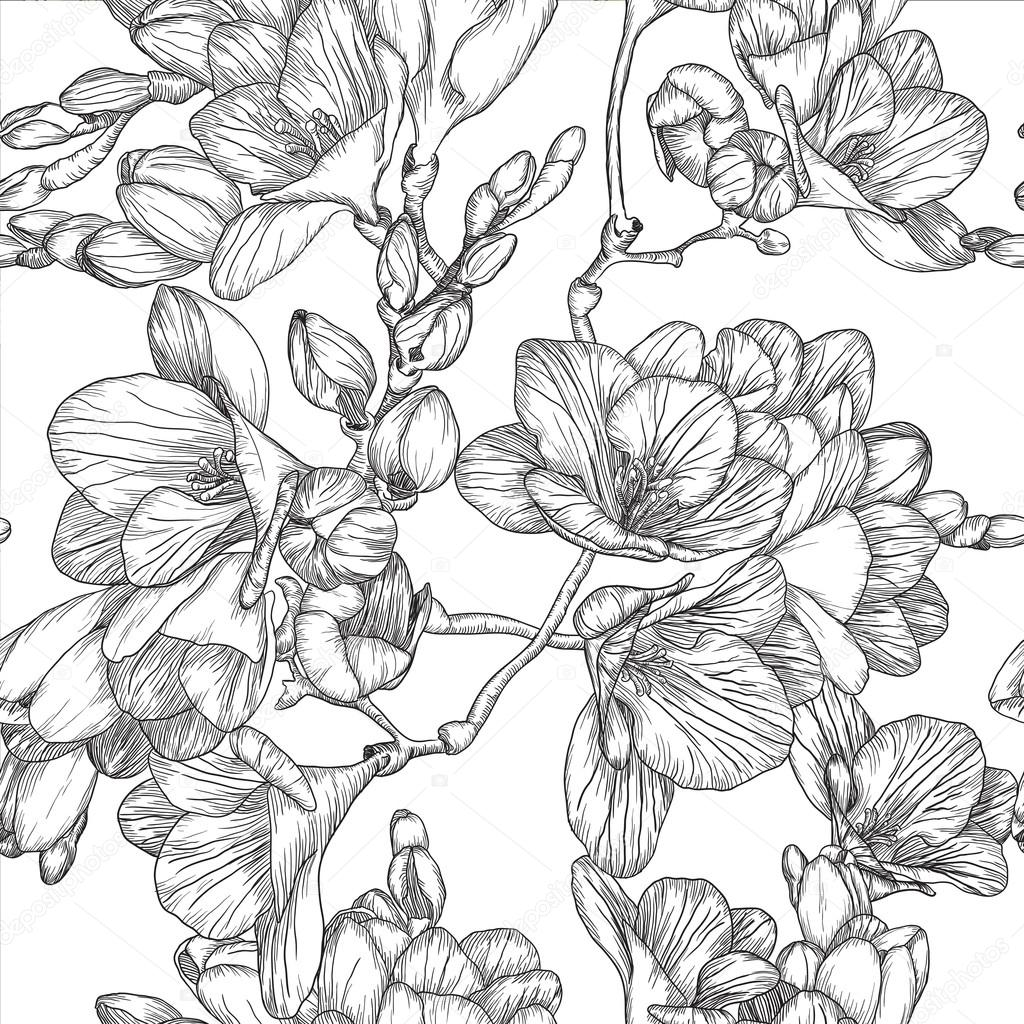 Black and white seamless pattern with Beautiful bouquet of sprin