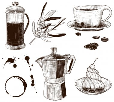 Hand-drawn set of cafe items