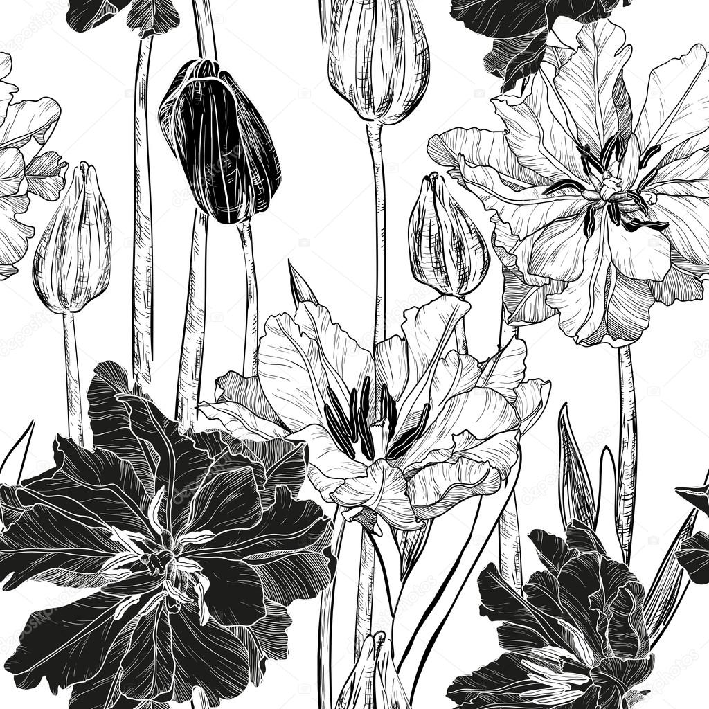 Vector Seamless Pattern With Spring Tulip Flowers Black And Whi