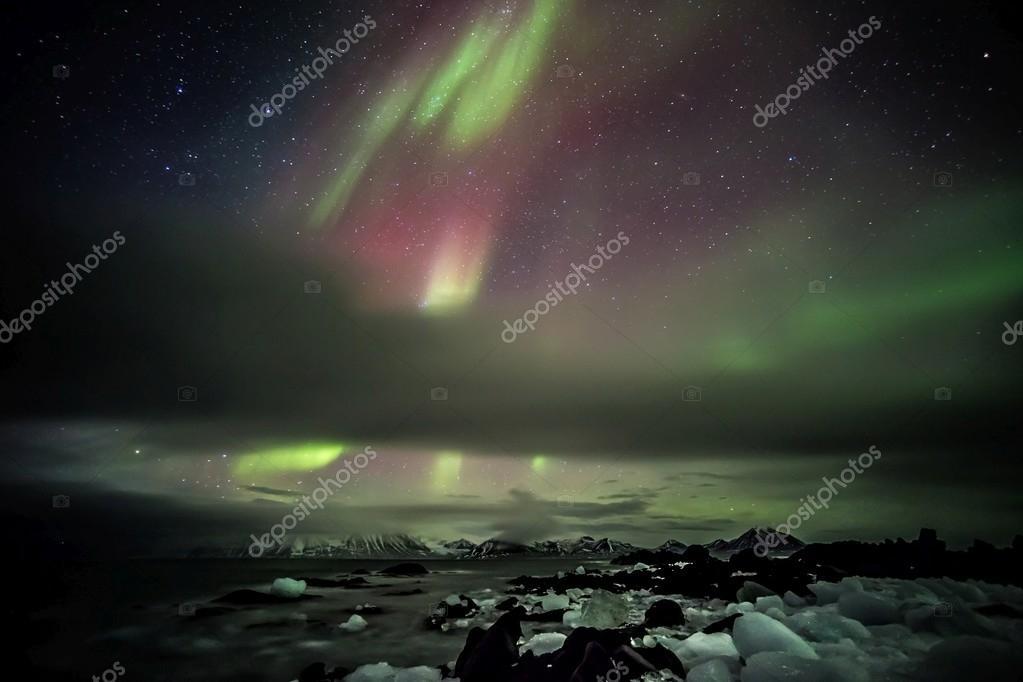 Northern lights on the Arctic sky