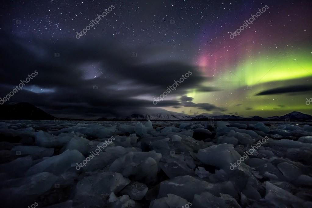 Aurora Borealis  over the Arctic Archipelago of Svalbard