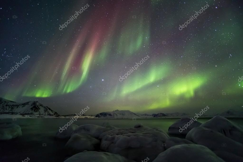 Typical  Arctic winter landscape with Northern Lights - Spitsbergen
