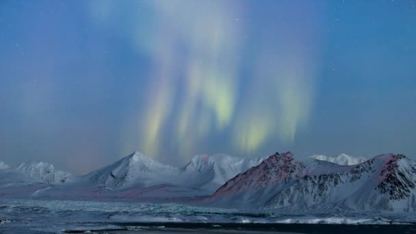 schöne Nordlichter über den arktischen Bergen und Gletschern