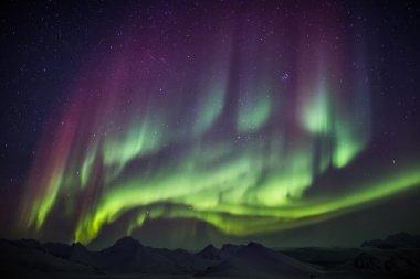 Unusual beautiful Northern Lights - Arctic landscape