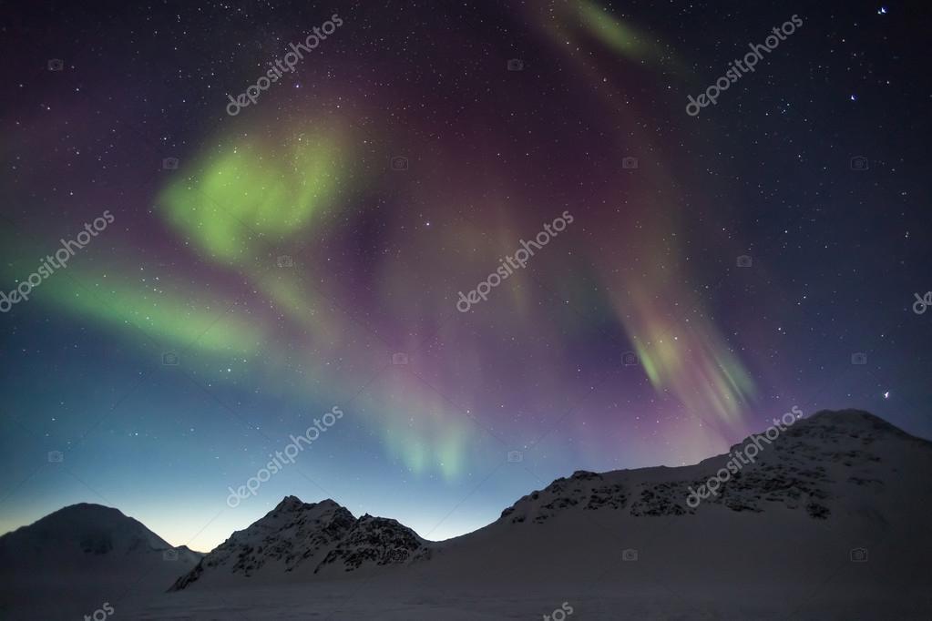 Northern Lights above tre Arctic Archipelago of Svalbard