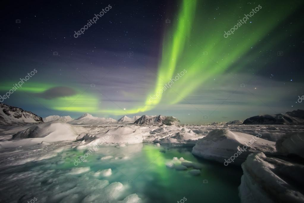 Typical Arctic winter landscape - Northern Lights over the frozen fjord