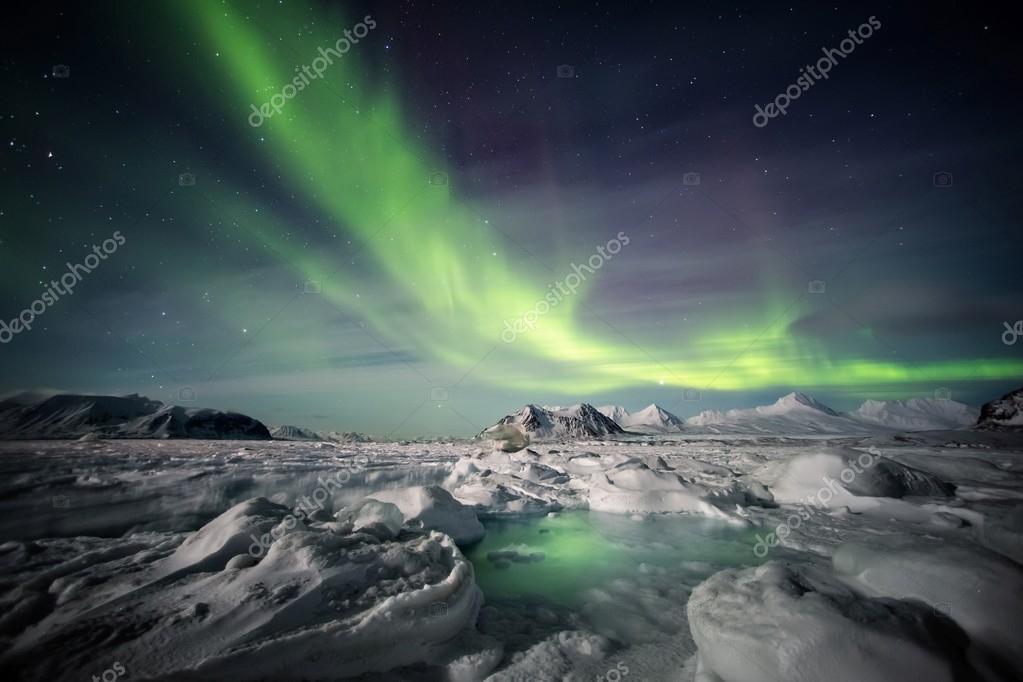 Frozen fjord & Northern Lights - Arctic natural landscape.