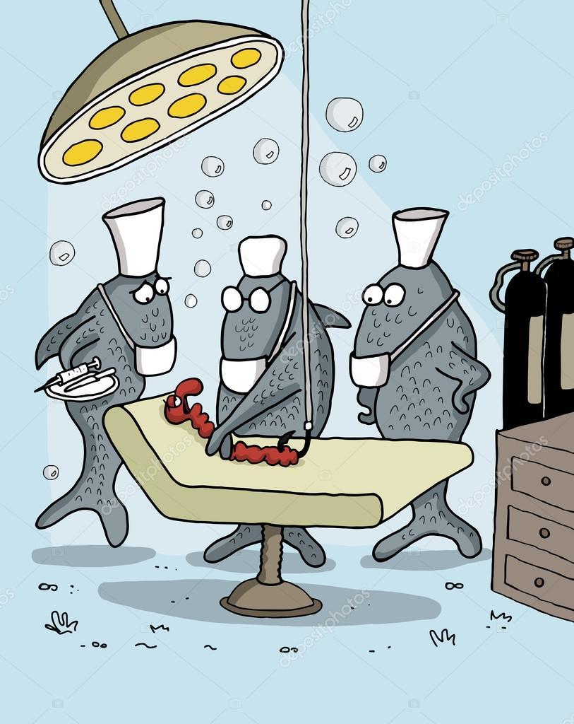 lustige Cartoons über Fische als Ärzte — Stockvektor © artistan ...