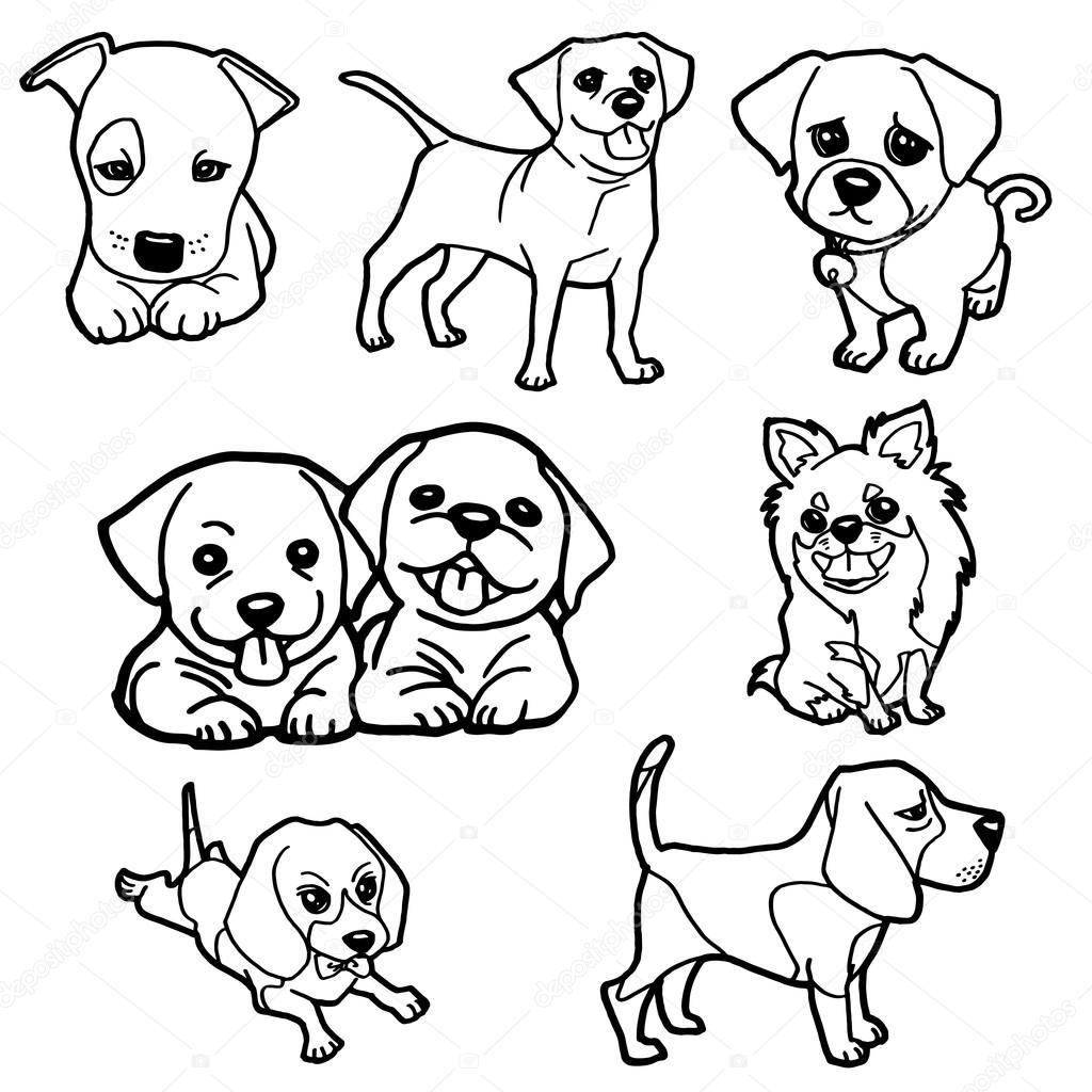 Cachorros libro para colorear set vector — Vector de stock ...