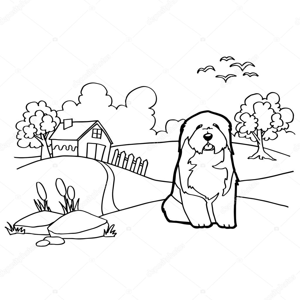 Coloring book with dog and landscape — Stock Vector © attaphongw ...