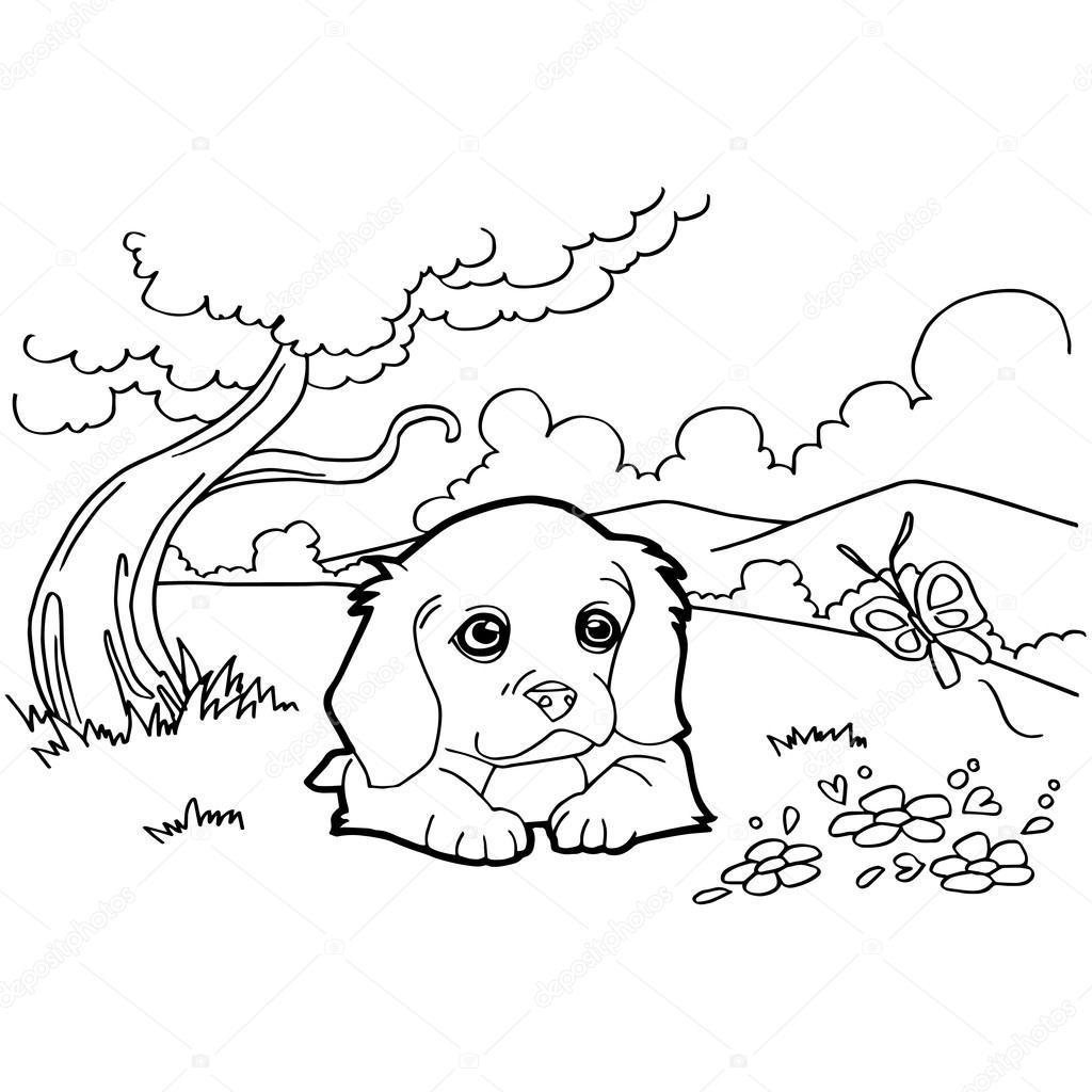 犬の塗り絵 ストックベクター Attaphongw 75381839