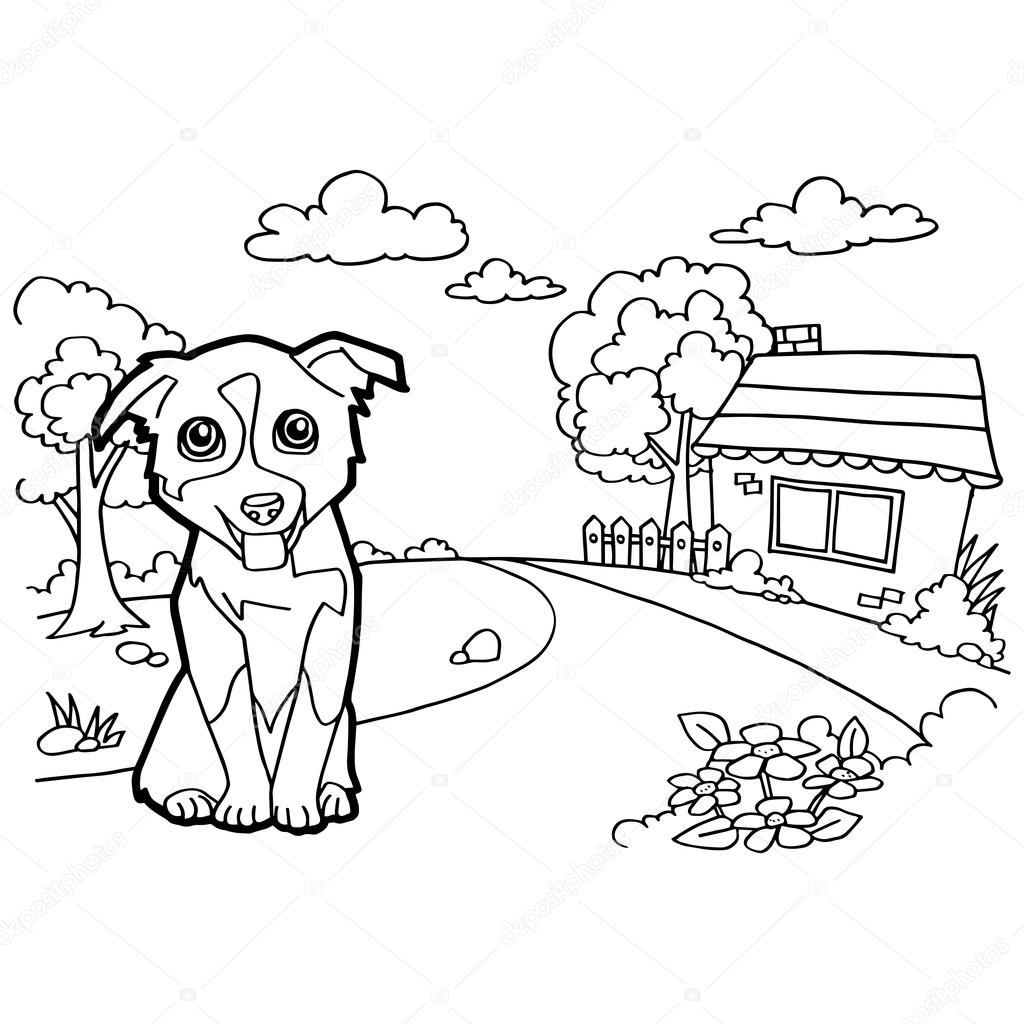 Coloring book with dog and house — Stock Vector © attaphongw #75381951