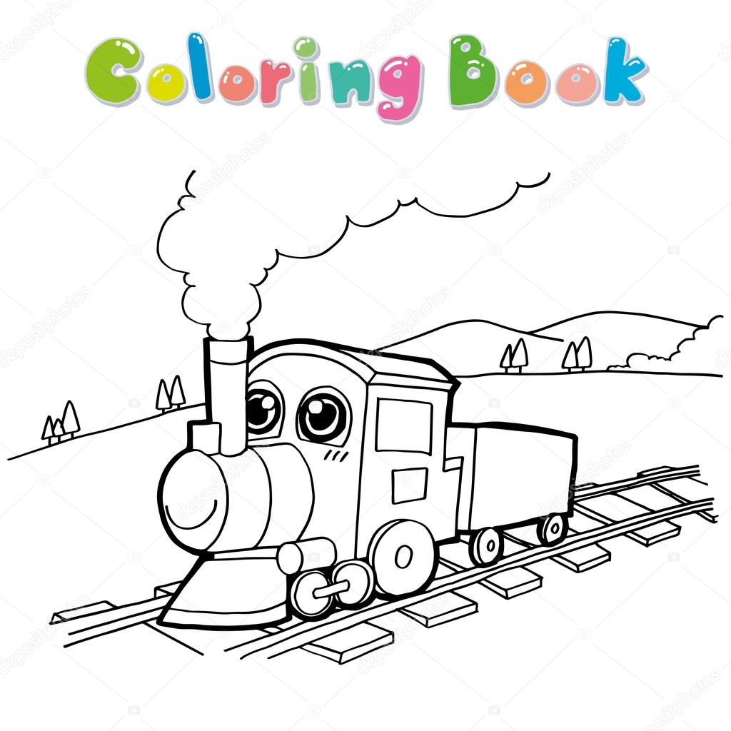Train coloring page vector 10