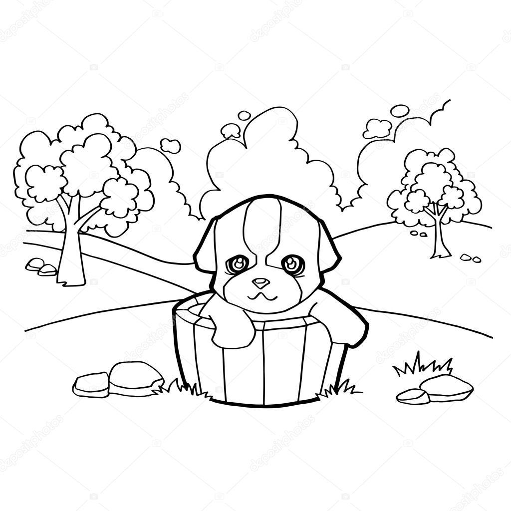 Köpek Ve Manzara Ile Boyama Kitabı Stok Vektör Attaphongw 77660776