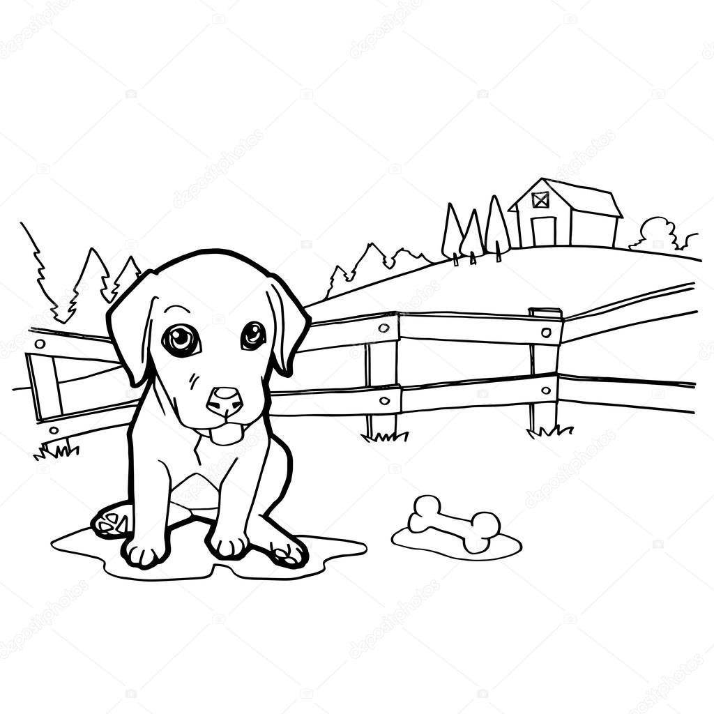 Köpek Ve Manzara Ile Boyama Kitabı Stok Vektör Attaphongw 77660784