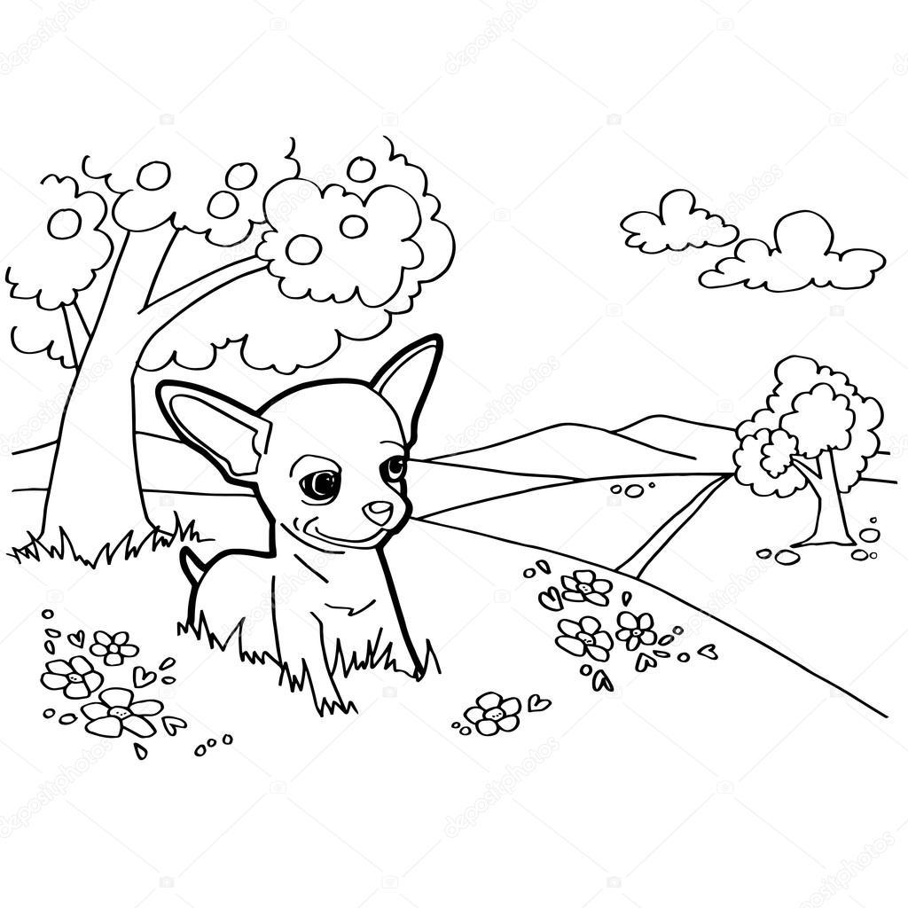 Köpek Ve Manzara Ile Boyama Kitabı Stok Vektör