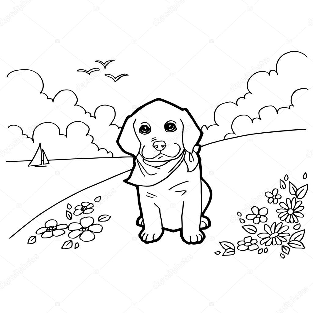 犬と風景の塗り絵 ストックベクター Attaphongw 77662908