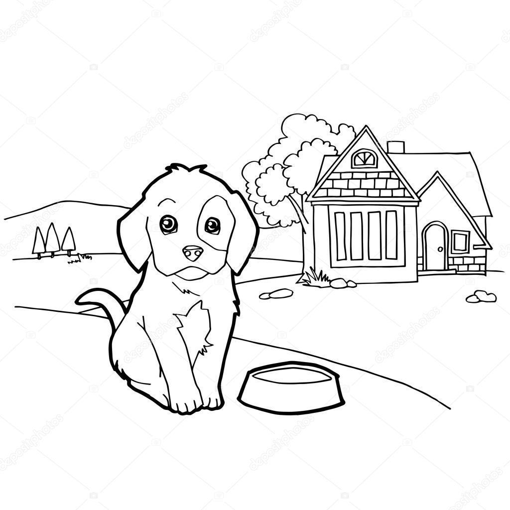 Libro para colorear con el perro y paisaje — Vector de stock ...