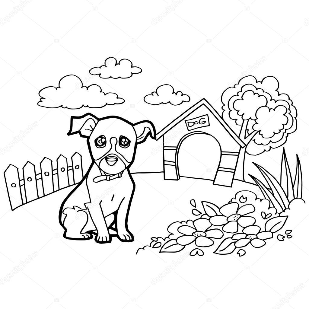 Köpek Ve Manzara Ile Boyama Kitabı Stok Vektör Attaphongw 77662922
