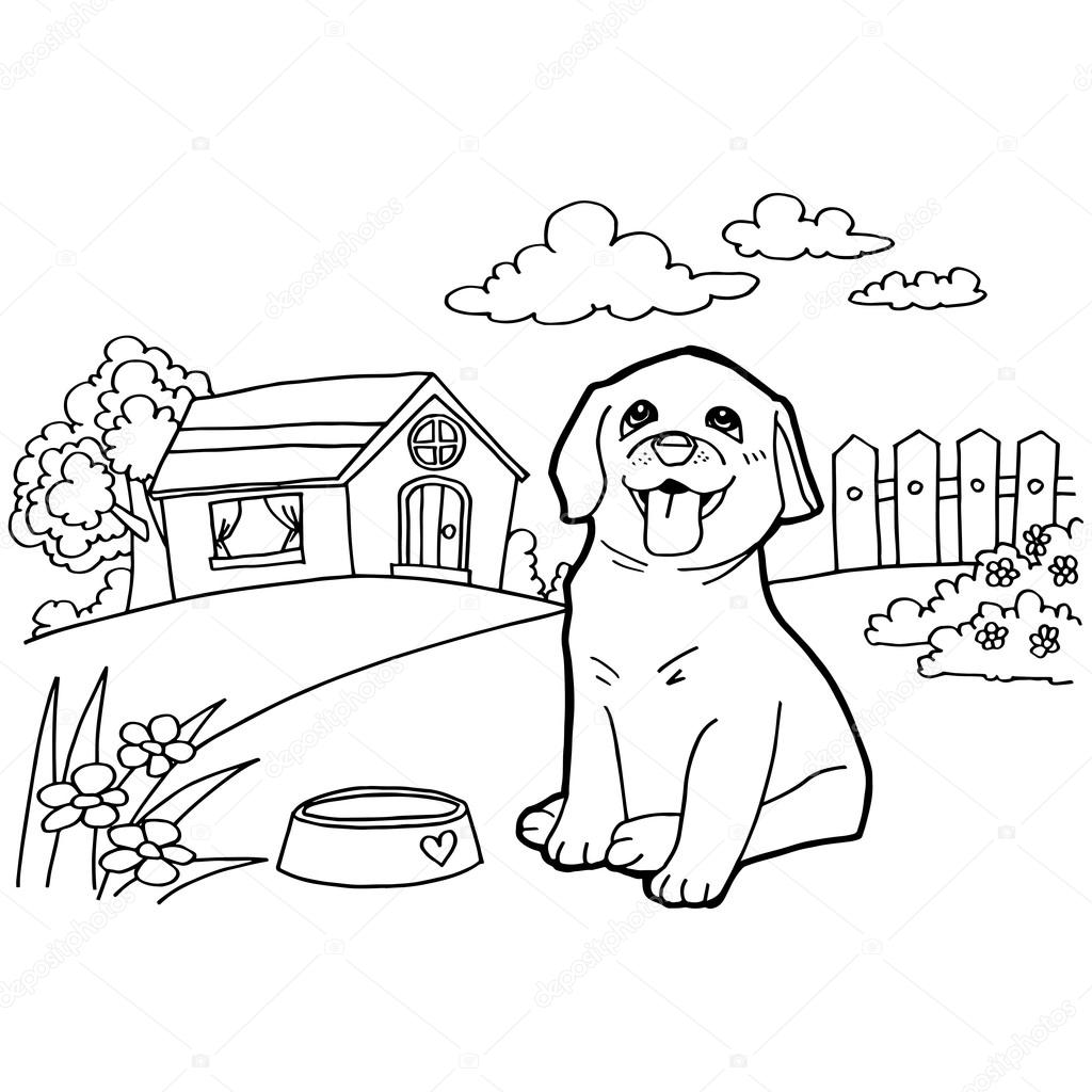 Coloring Book With Dog And Landscape Stock Vector 77799566